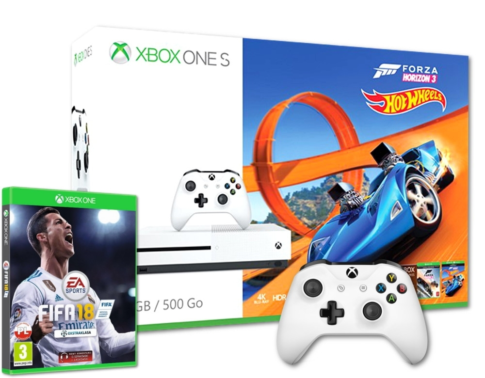 Konsola Xbox One S 500 GB Biała 2 Pady + Forza Horizon 3 + Hot Wheels + Fifa 18